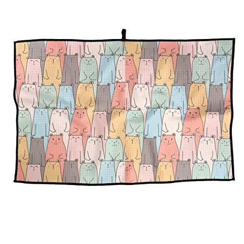 - Ling Lake Cute Bears Pattern Golf Towel Microfiber Sports Towel Hook-23.6