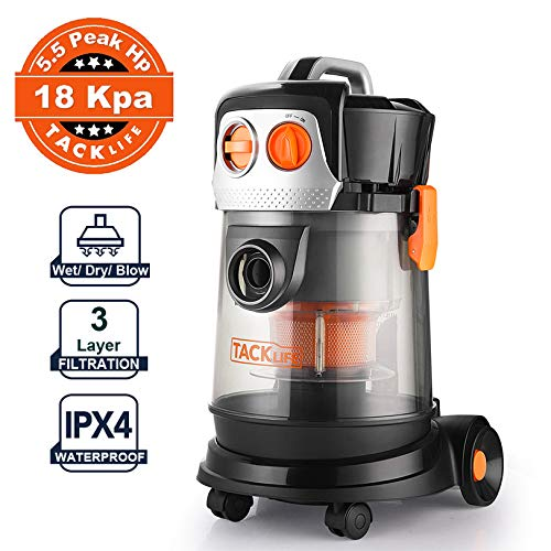 Check Out This TACKLIFE Wet Dry Vacuum, Bagless shop vac, Translucent 4 Gallon Tank, 18Kpa powerful ...