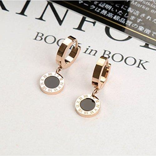 TKHNE minimalist big black onyx medallion earrings earrings steel rose gold earrings women girls hypoallergenic ()