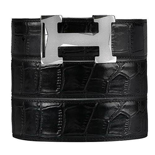 (Luxury Alligator cowhide Belts for men, by hand-woven, Stainless Steel buckle with gift box (Silver buckle with Black leather-3.8H, Pant waist27