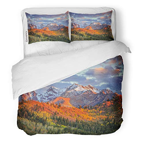 Semtomn Decor Duvet Cover Set Twin Size Fall Color Morning Light in The Wasatch Mountains Utah 3 Piece Brushed Microfiber Fabric Print Bedding Set Cover