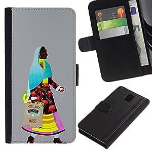LASTONE PHONE CASE / Lujo Billetera de Cuero Caso del tirón Titular de la tarjeta Flip Carcasa Funda para Samsung Galaxy Note 3 III N9000 N9002 N9005 / Middle Ages come back