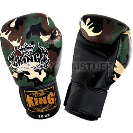 KINGTOP Top King Boxing Gloves Muay Thai Camouflage Green Gloves (14OZ)