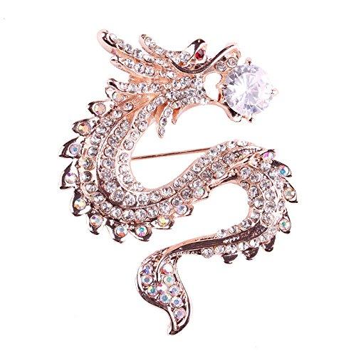 Hacoly, Spilla con strass a forma di drago, decorazione per camicie, cappotto, sciarpe o poncio, argento