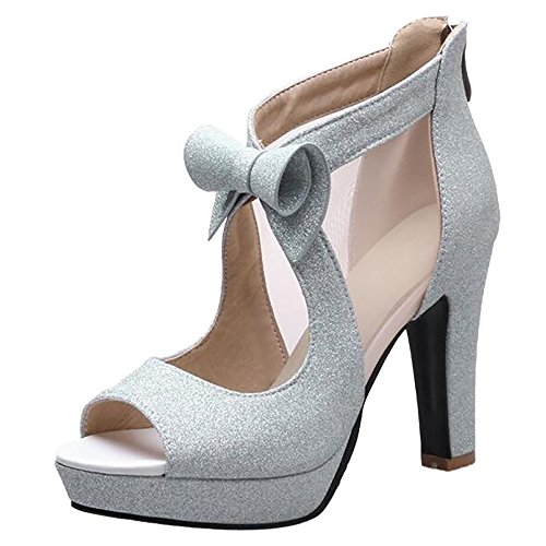 TAOFFEN Women Elegant Peep Toe Sandals Shoes Silver E5AWmFVAZr