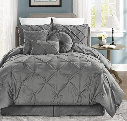 Sydney 7-piece Pintuck Duvet Cover Set w/ Corner Ties (Gray, King)
