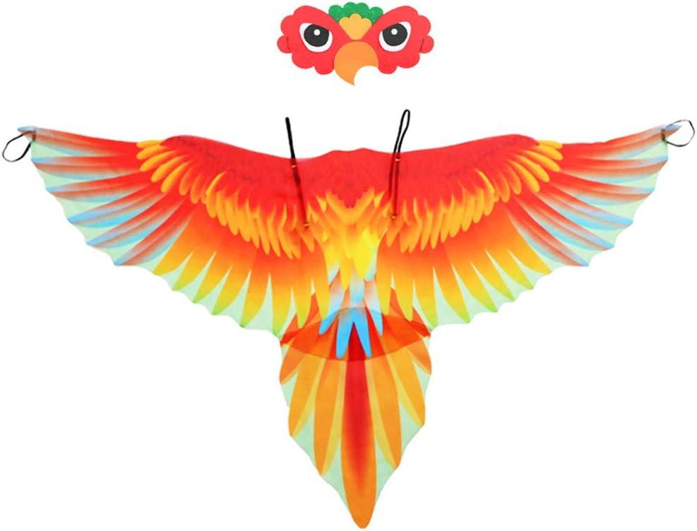 Vientiane Disfraz de Alas de Loro para Niños, Disfraz de Alas de Pájaro Cape Carnival, Disfraces de Pájaros para Halloween, Disfraces, Disfraces de Alto Rendimiento