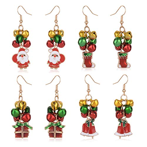 - Christmas Jingle Bell Earrings Set 4 Pairs Holiday Festive Jewelry for Women Girls Kids Including Santa Claus,Christmas Stockings,Gift Box and Xmas Jingle Bell Earrings (Jingle Bells Earrings)