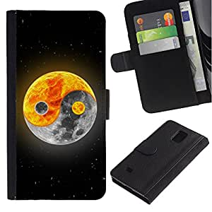 Planetar® Colorful Pattern Flip Wallet Leather Holster Protective Skin Case Cover For Samsung Galaxy Note 4 IV / SM-N910 ( Yin yang Moon Sun )