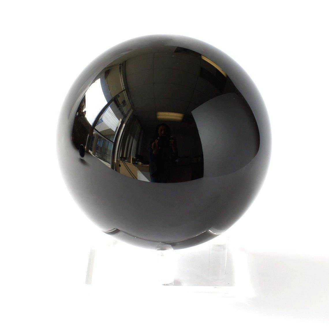 JIC Gem Natural Black Obsidian Sphere Ball Fengshui Healing Decoration(6.2'')