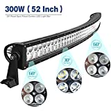 YITAMOTOR 52 Inch Curved Led Light Bar With Free Wiring Harness Spot Flood Combo Offroad Fog Lights for Ford Chevy GMC Truck Jeep Cherokee Dodge Ram, 300W - 27,000 Lumens, 3 Year Warranty