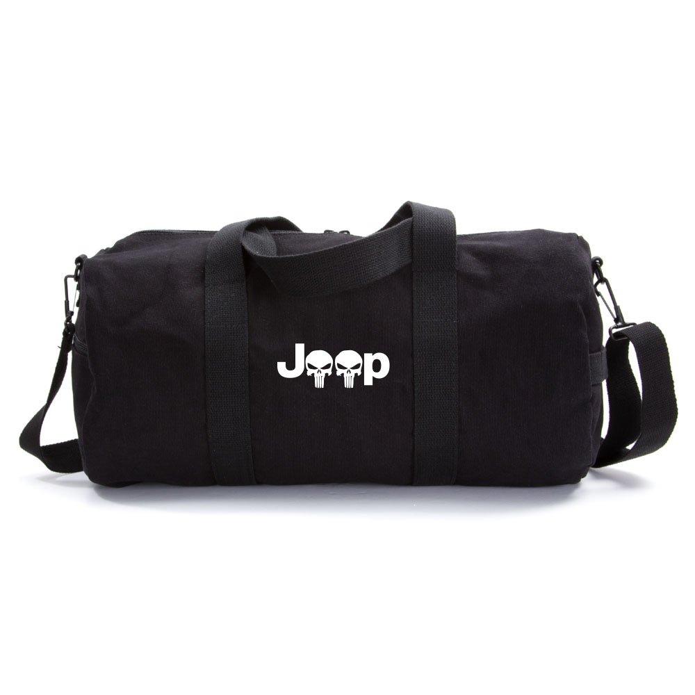 Tactical Overlord Jeep Wrangler Punisher Canvas Shoulder Duffel Bag Black Medium