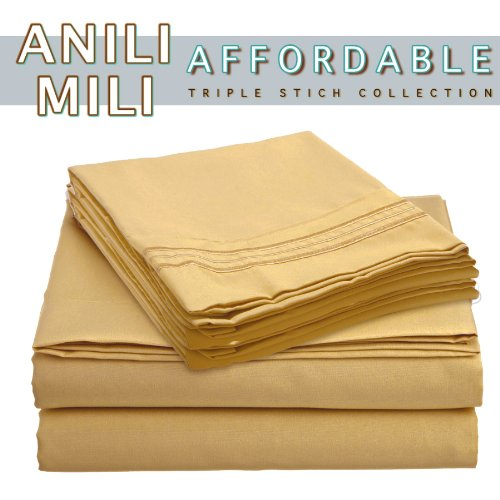 Anili Mili's Triple Stitch Embroidery Affordable 4 PC Bed Sheet Set - Full Size, Yellow Camel Gold