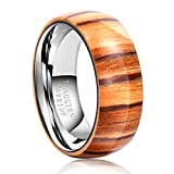 other persons wish list - TGNEL Fashion Engagement Rings Domed Wedding Bands for Men 8mm Tungsten Carbide with Wood Inlay Comfort Fit (9.5)