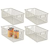 mDesign Farmhouse Decor Metal Wire Food Organizer Storage Bin Baskets with Handles for Kitchen Cabinets, Pantry, Bathroom, Laundry Room, Closets, Garage - 16 x 9 x 6 in. - 4 Pack - Satin