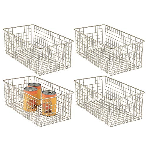 Farmhouse Decor Metal Wire Food Organizer Storage Bin Baskets with Handles for Kitchen Cabinets, Pantry, Bathroom, Laundry Room, Closets, Garage - 16 x 9 x 6 in. - 4 Pack - Satin