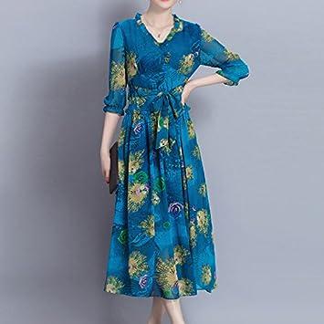 XIU*RONG Mujer Vestido De Seda Seda Falda Larga Falda Y Playa Azul ...