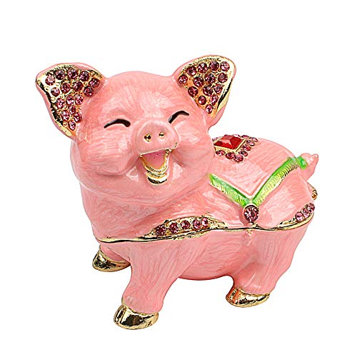 Pig Trinket Box - Hophen Mother`s Day Cute Smiling Pig Animal Figurine Trinket Box Ring Holder Jewelry Storage Statue Collectible Ornament (Pink)