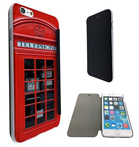543 - UK Red Call Box Funky Design iphone 6 Plus / iphone 6 Plus S 5.5'' Fashion Trend Funky Smart Hartplastik & TPU Leder Schutzhülle Hülle Flip Cover Book Wallet Case - Schwarz & Clear