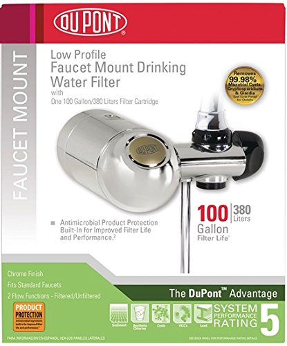 DuPont WFFM300XCH Premier Faucet Mount Horizontal 100-Gallon Capacity Water Filter, Chrome by DuPont