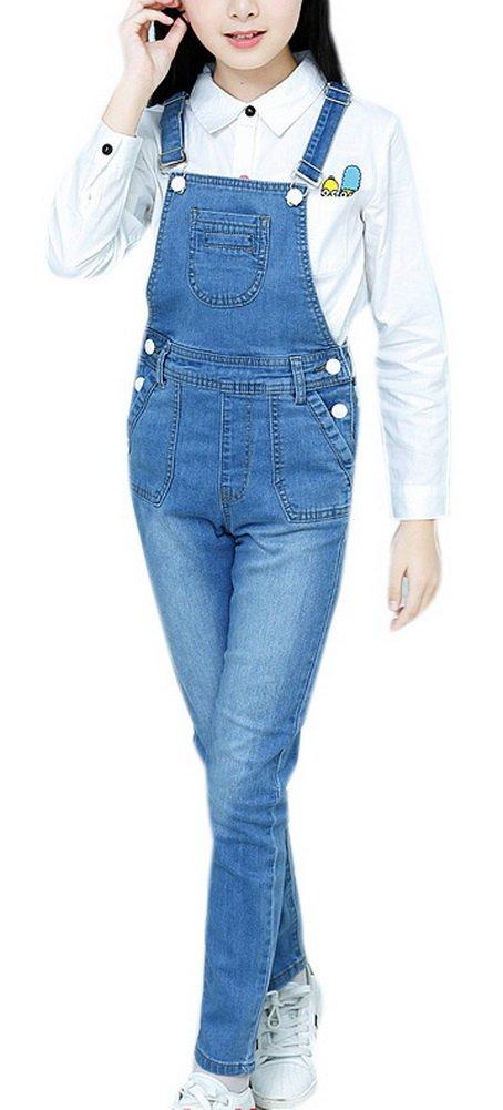Luodemiss Girls Overalls Maxi Jeans Long Jumpsuit Dark Washed Blue Denim BF Style Big Girl Romper 6 Light Blue