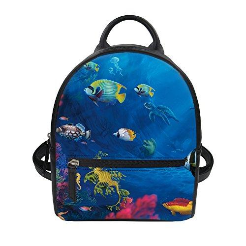 HUGS IDEA Mochila infantil, Tropical Fish3 (Azul) - Y-W053Z4 Tropical Fish3