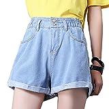 Weigou Woman Denim Shorts Loose High Waist Button Wide Leg Short Jeans Elastic Waist Rolled Blue Junior Shorts (Blue, S)