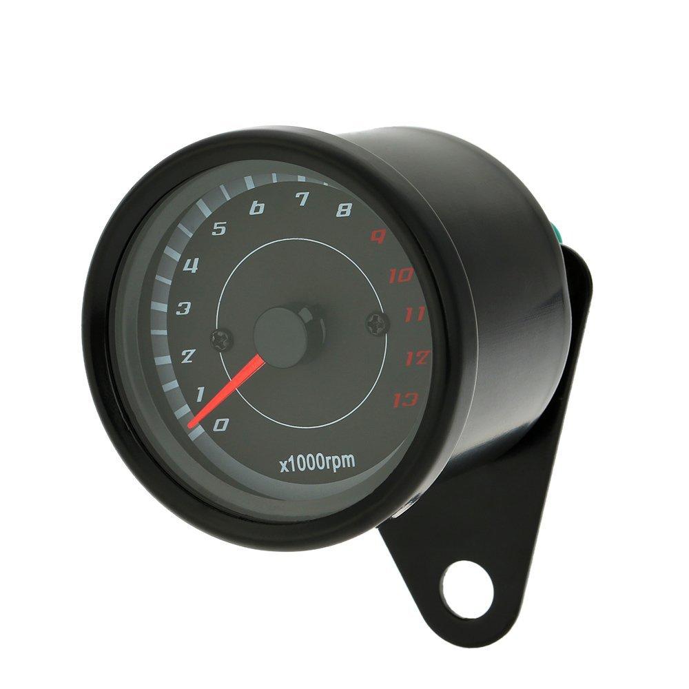 KKmoon 12 V motociclo 13000RPM Tachometer KM//h Tacho Dual Contachilometri Misuratore con retroilluminazione a LED luci di segnalazione.