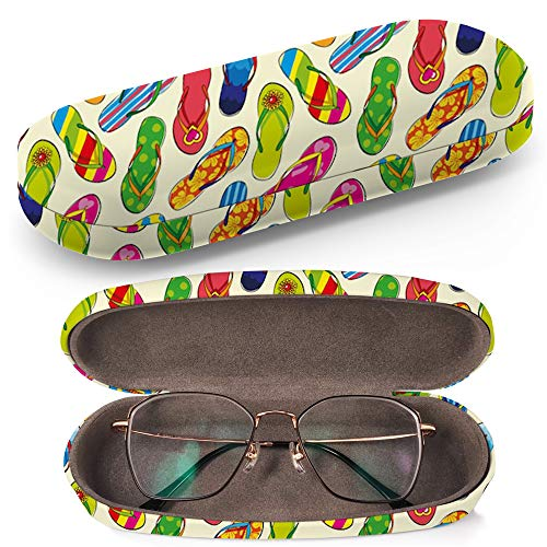 Hard Shell Glasses Protective Case Box + Cleaning Cloth - Fits Eyeglasses Sunglasses Flip Flops