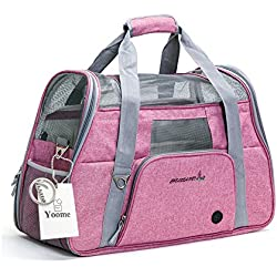 Yoome Premium Airline Approved Soft-Sided Pet Travel Carrier by Ventilated, Comfortable Design with Safety Features   Perfect For Plane or Car   Ideal for Small to Medium Sized Cats, Dogs