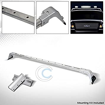 Amazon Com R L Racing Chrome Silver Deluxe Rota Light Mount Roof Gutter Rack Brackets 94 02 For Dodge Ram Automotive