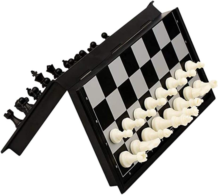 Black Children Toy WOQOOK Plastic Magnetic Travel Chess Set with Folding Chess Board Educational Toys for Kids and Adults