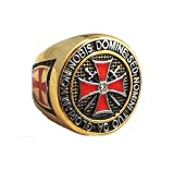 unbrand Knight Templar Ring - Masonic College Style GOLD Color Stainless Steel Ring (10)