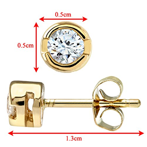 Revoni Bague en or jaune 9carats-Rub de Quart carat Diamant Boucles d'oreilles