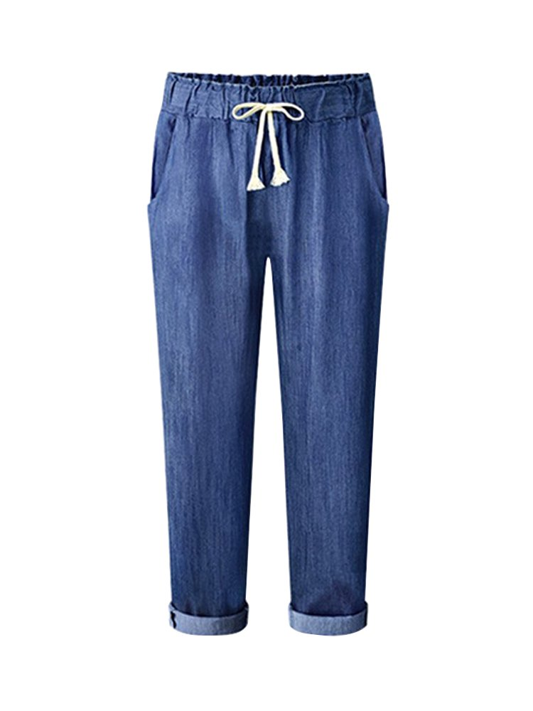 Women's Elastic Waist Denim Pants Casual Loose Jeans Pants Ankle Length Harem Pants Dark Blue Tag 4XL-US 14