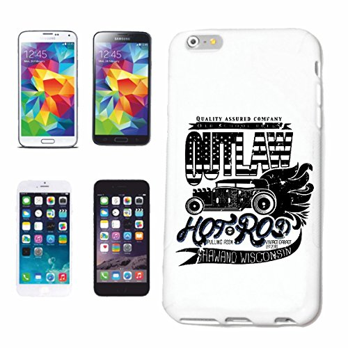 """cas de téléphone iPhone 7S """"OUTLAW HOT ROD RACE MASTER OLD SCHOOL HOT ROD CAR US Mucle CAR V8 ROUTE 66 USA AMÉRIQUE"""" Hard Case Cover Téléphone Covers Smart Cover pour Apple iPhone en blanc"""