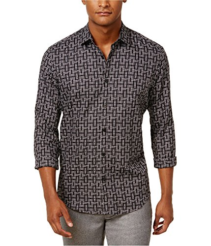 Alfani Men's Classic-Fit Geometric-Print Shirt (Deep Black, S) from Alfani