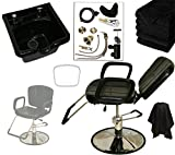 LCL Beauty Reclining Hydraulic Cutting & Shampoo Barber Salon Chair & ABS Plastic Bowl Salon Package