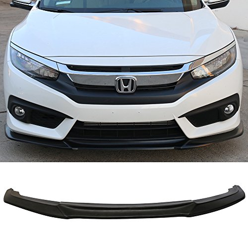 Front Bumper Lip Fits 2016-2018 Honda Civic | IKON GT Style Black PU Front Lip Finisher Under Chin Spoiler Add On by IKON MOTORSPORTS | 2017 ()