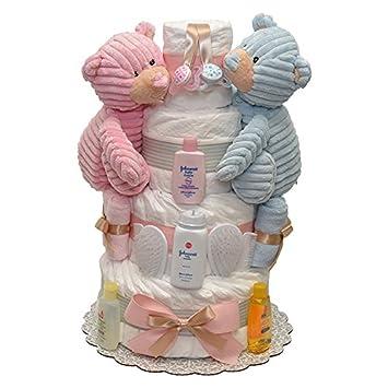 Amazon.com: Gemelos niña y niño Cord pañal Pastel 4 Tiers: Baby