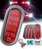 SET of 6 Autosmart Kl-35100rk Red Oval Sealed LED Turn Signal and Parking