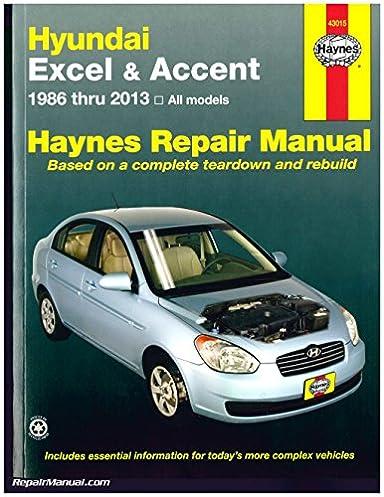 h43015 hyundai excel accent 1986 2013 haynes auto repair service rh amazon com 2005 Hyundai Accent hyundai accent 1998 service manual pdf