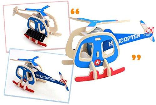 Sunnytech®1pc Solar Energy DIY Kit Aircraft Wood Plane Child Educational 3D Wooden Jigsaw Puzzle Toy P240