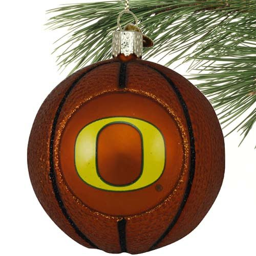 NCAA Oregon Ducks Glass Basketball Ornament - Glass Basketball Christmas Ornaments