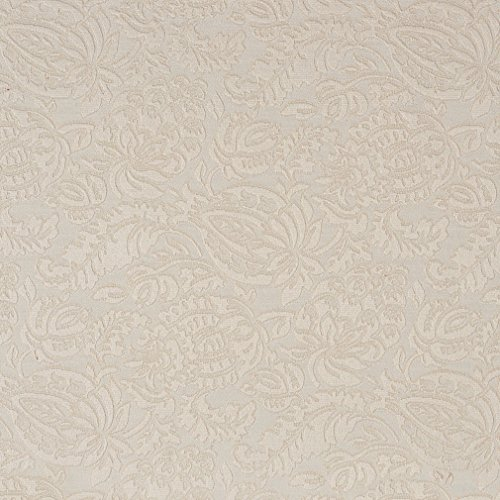 E555 Ivory White Floral Jacquard Woven Upholstery Grade Fabric by The -