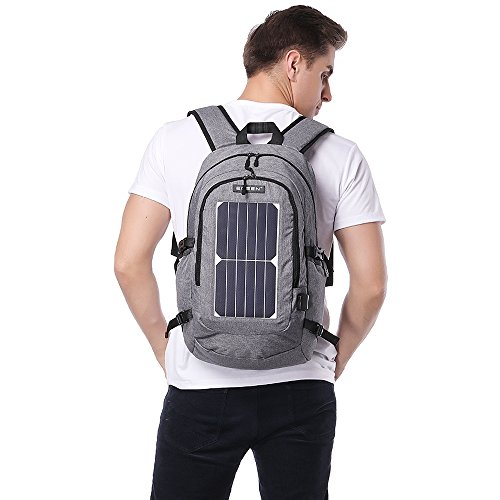 ECEEN Solar Powered Business Laptop Backpack Slim Computer Bag College School Backpack Eco-friendly Travel Shoulder Bag with 7 Watts Solar Panel & USB Charging Port Fits UNDER 15.6'' Laptop & Notebook by ECEEN (Image #5)