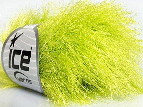 Light Green Extra Long Eyelash Yarn Ice Luxurious Fun Fur 50gr - Long Eyelash Yarn