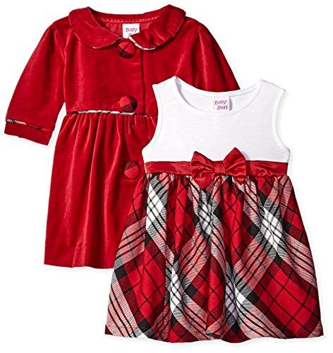 Blueberi Boulevard Dress - Blueberi Boulevard Baby Girls' Plaid Velvet Coat Dress Set, Red, 24 Months