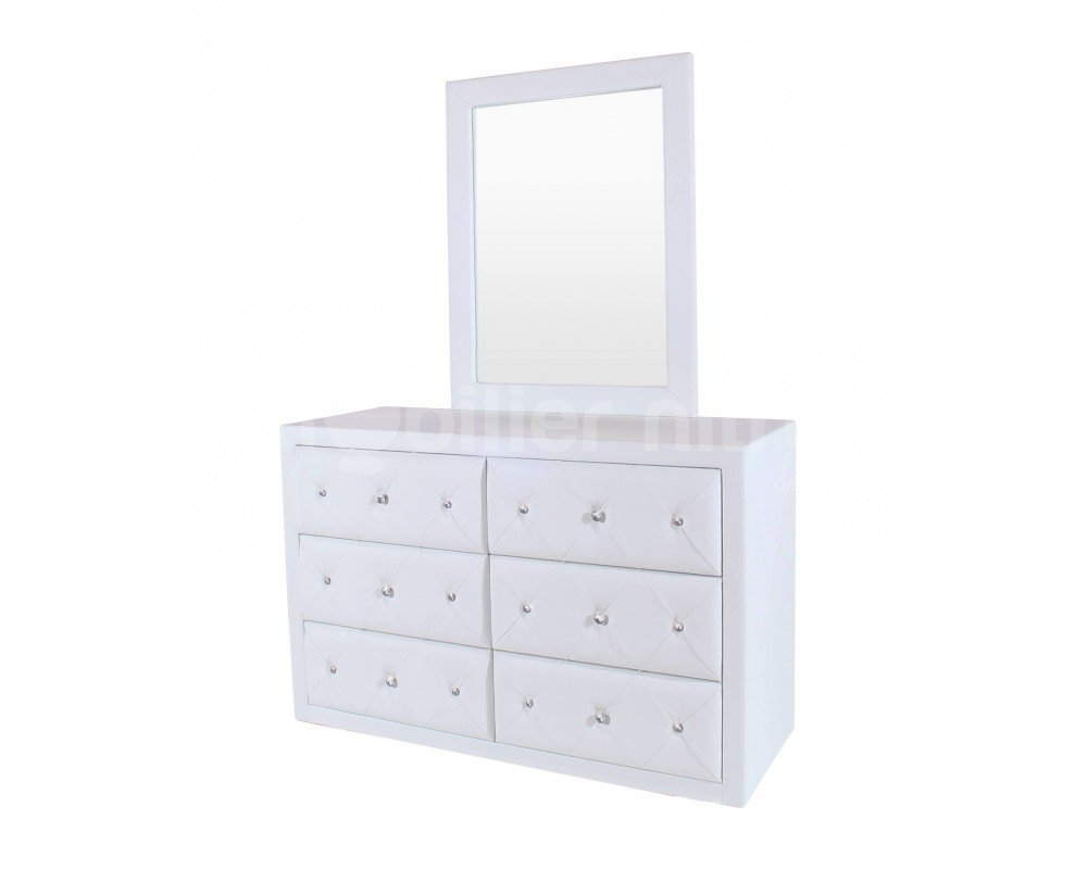 Commode design Baltimore + miroir Blanc: Amazon.fr: Cuisine & Maison