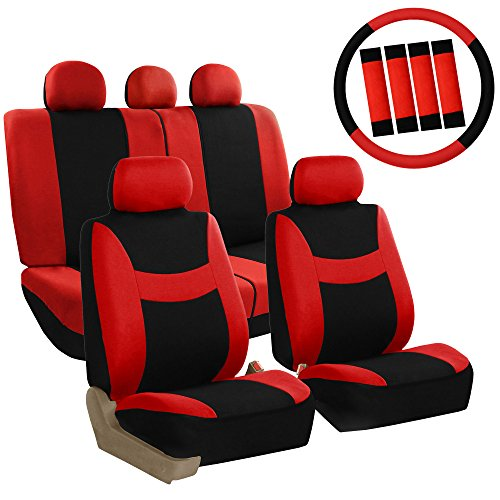 (FH GROUP FH-FB030115 Combo Light & Breezy Cloth Full Set Car Seat Covers (Airbag & Split Ready), Red/Black - Fit Most Car, Truck, Suv, or Van)